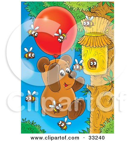Clipart Illustration of a Bear Cub Hanging Onto A Balloon, Floating Towards A Bee Hive To Collect Honey by Alex Bannykh