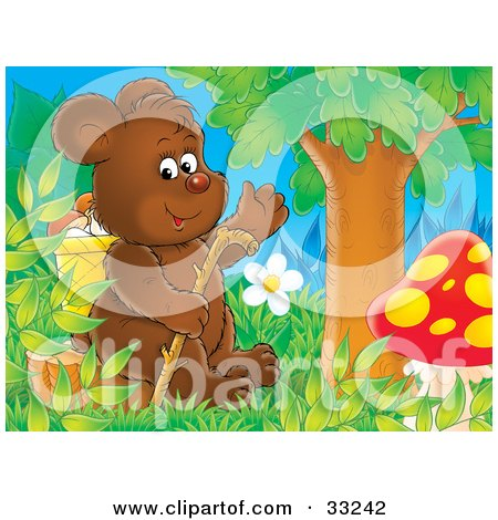 Clipart Illustration of a Friendly Bear Cub Sitting On A Stump With A Walking Stick, Under A Tree With A Mushroom by Alex Bannykh
