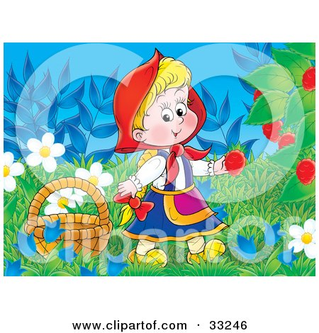 Clipart Illustration of a Girl, Little Red Riding Hood, Picking Raspberries From The Bush by Alex Bannykh
