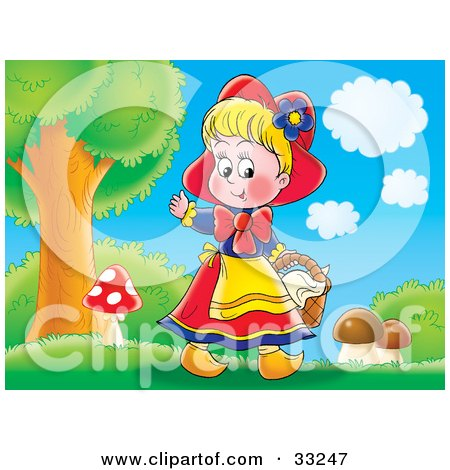 Clipart Illustration of a Happy Little Girl, Red Riding Hood, Picking Mushrooms Near The Forest by Alex Bannykh