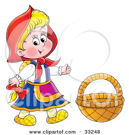 Clipart Illustration of Little Red Riding Hood Wearing Her Cape, Standing By A Basket by Alex Bannykh