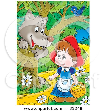 Clipart Illustration of a Wolf Emerging Behind A Tree Under A Bird, Watching Little Red Riding Hood As She Walks Through The Forest by Alex Bannykh
