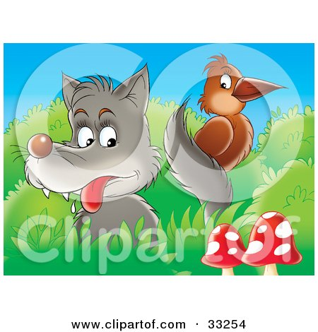 Clipart Illustration of a Wolf Looking At A Brown Bird On Its Tail, Perched In Bushes Near Mushrooms by Alex Bannykh