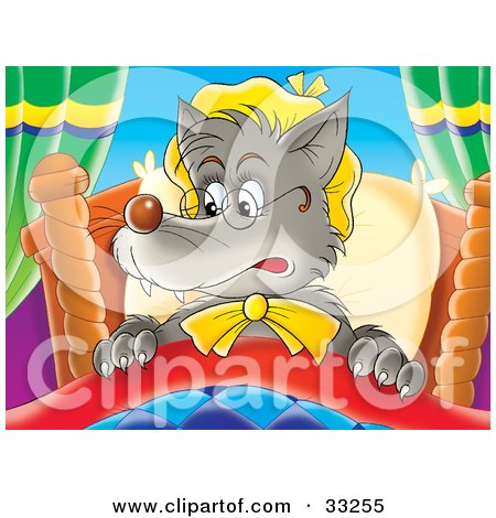 Clipart Illustration of an Evil Wolf In Granny's Bed, Wearing Glasses And A Hat by Alex Bannykh
