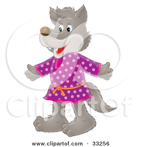 Clipart Illustration of a Happy Wolf In A Purple Polka Dot Dress by Alex Bannykh