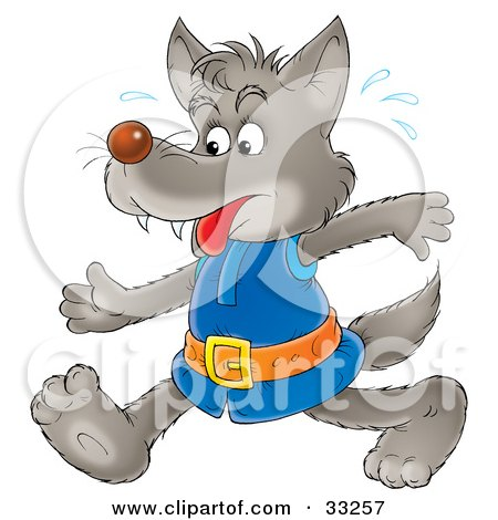 Clipart Illustration of a Wolf In Clothes, Sweating And Walking by Alex Bannykh