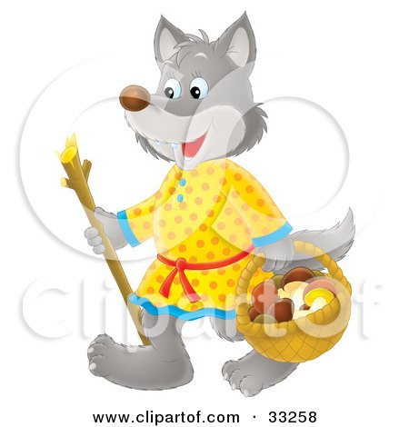 Clipart Illustration of a Friendly Wolf In Clothes, Using A Stick While Carrying A Basket Of Mushrooms by Alex Bannykh