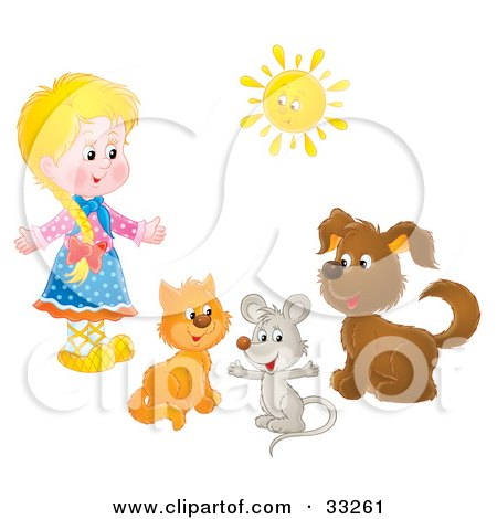 Clipart Illustration of a Little Blond Girl With A Cat, Mouse And Dog Under A Sun by Alex Bannykh