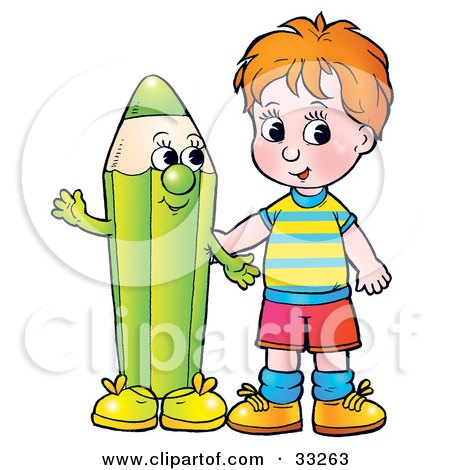 Clipart Illustration of a Red Haired Boy Standing With A Friendly Green Color Pencil Character by Alex Bannykh