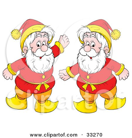 Clipart Illustration of Two Friendly Gnomes Or Elves With White Bears, Dressed In Red And Yellow by Alex Bannykh