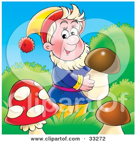 Clipart Illustration of a Friendly Male Gnome, Carrying A Mushroom In Grasses by Alex Bannykh