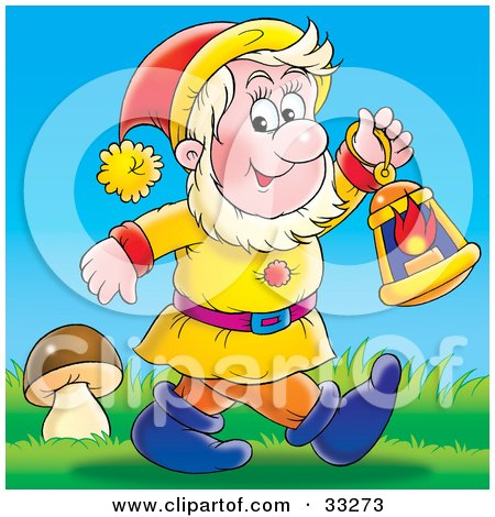 Clipart Illustration of a Friendly Male Gnome, Carrying A Lantern And Walking Past A Mushroom by Alex Bannykh
