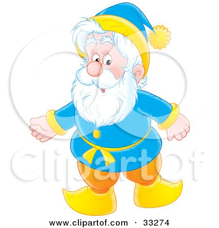 Clipart Illustration of a white haired senior man in a blue and yellow suit by Alex Bannykh