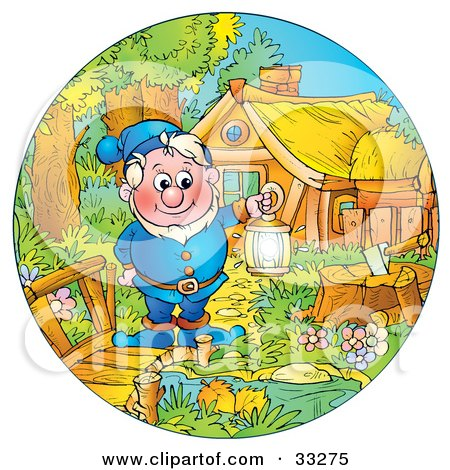 Clipart Illustration of a Friendly Elf In Blue, Holding A Lantern And Standing On A Bridge By His House by Alex Bannykh