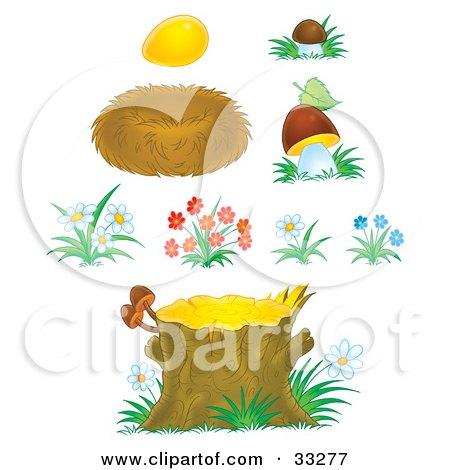 Clipart Illustration of a Golden Egg, Bird Nest, Mushrooms, Flowers And Tree Stump by Alex Bannykh