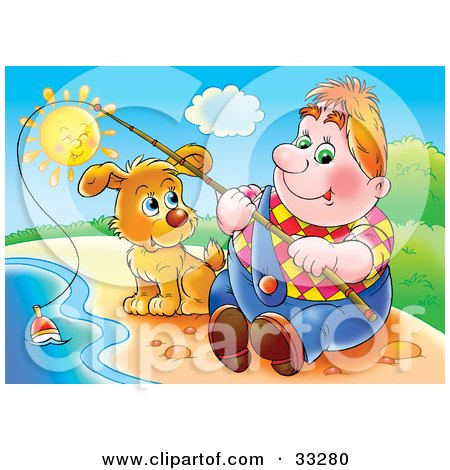 Clipart Illustration of a Chubby Man Sitting On The Shore With His Dog, Fishing On A Sunny Day by Alex Bannykh