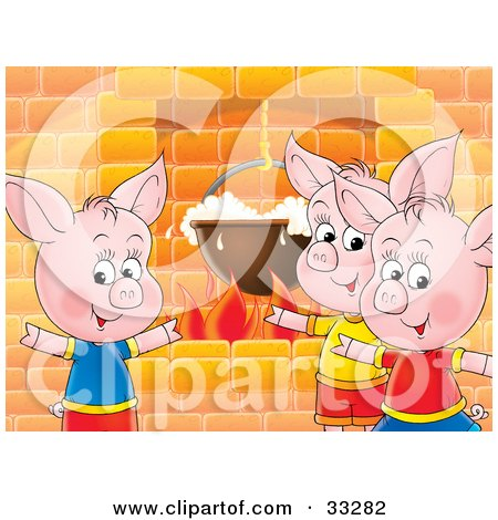 Clipart Illustration of Three Pink Piglets Standing Around A Fireplace While Cooking Food In A Pot by Alex Bannykh