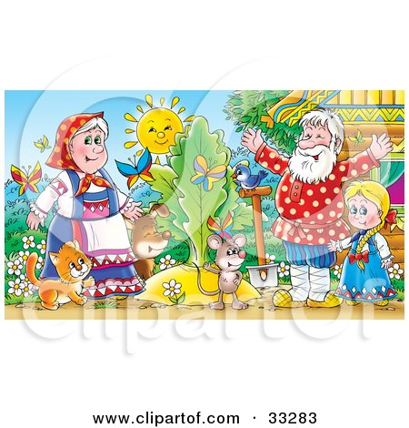 Clipart Illustration of a Cat, Mouse, Dog, Bird, Butterflies, Girl, Man And Woman Standing Around A Giant Turnip Or Carrot by Alex Bannykh