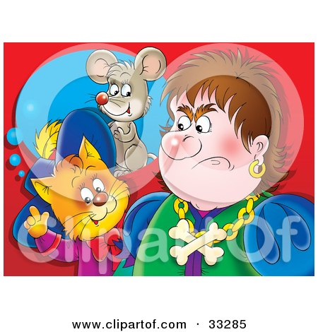 Clipart Illustration of Puss In Boots, The Cat, Standing Behind An Angry Man, Thinking Of A Mouse by Alex Bannykh