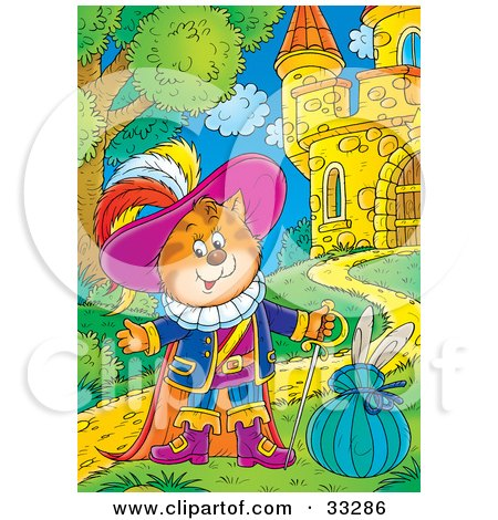 Clipart Illustration of Puss In Boots, The Cat, Standing By A Hare In A Sack In Front Of A Castle by Alex Bannykh