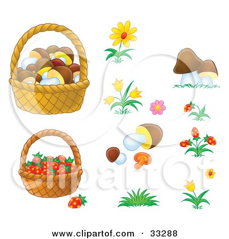 Clipart Illustration of Baskets Of Mushrooms And Strawberries With Flowers And Mushrooms by Alex Bannykh
