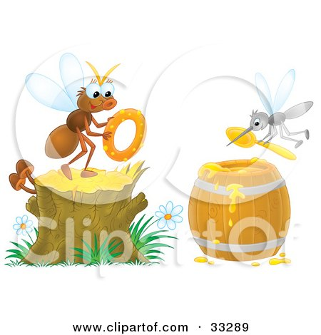 Clipart illustration of a fly holding a donut on a stump for Mosquito donuts