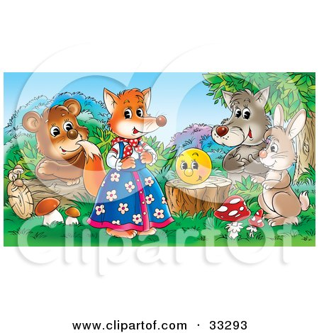 Clipart Illustration of a Bear, Wolf, Rabbit And Happy Face Admiring A Female Fox In Clothes by Alex Bannykh