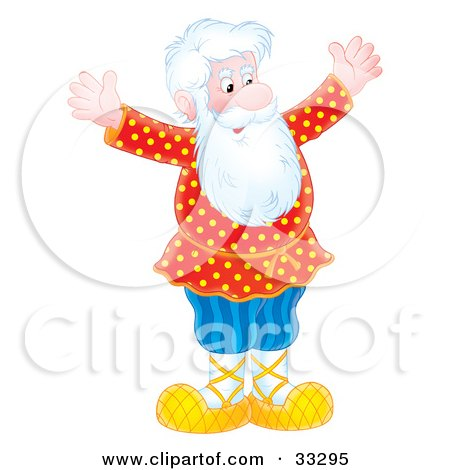 Clipart Illustration of a Senior Caucasian Man With A White Beard, Holding His Arms Out And Smiling by Alex Bannykh
