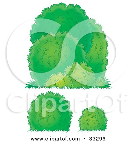 Clipart Illustration of Three Different Lush Green Bushes by Alex Bannykh