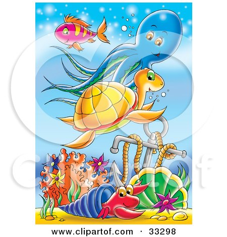 Clipart Illustration of a Purple Fish, Blue Octopus, Orange Sea Turtle, And A Blue And Red Hermit Crab Swimming Near An Anchor In The Sea by Alex Bannykh