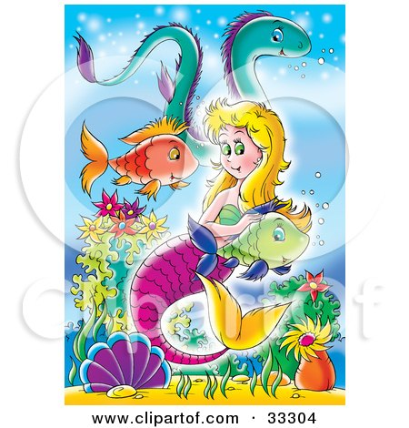 Blond Mermaid With A Purple Tail, Swimming With Fish And An Eel In The Sea Posters, Art Prints