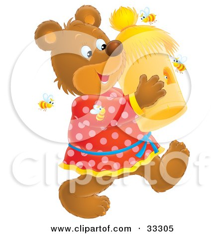Clipart Illustration of a Happy Bear Carrying A Bee Hive, Surrounded By Bees by Alex Bannykh