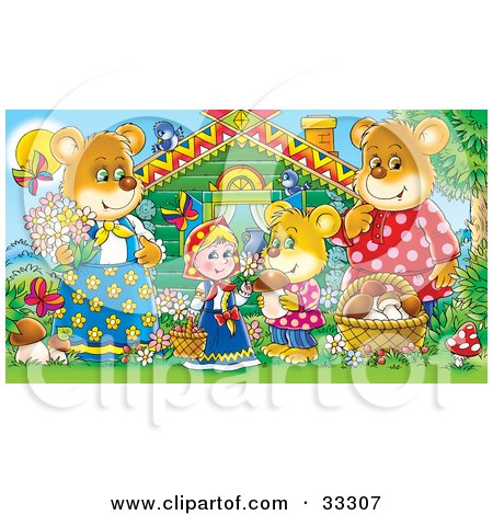 Clipart Illustration of Goldilocks Standing Outside A Cabin With The Three Bears, Mushrooms, Butterflies And Birds by Alex Bannykh