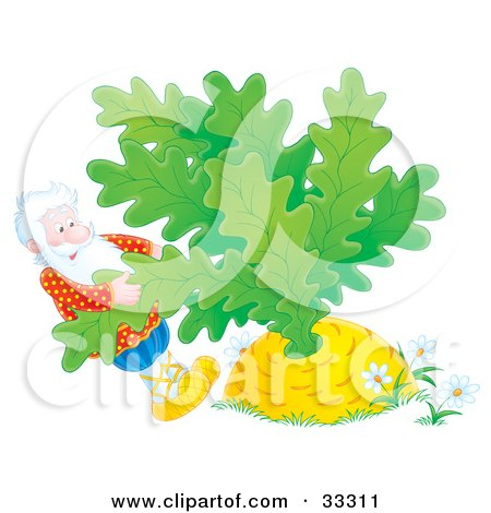 Clipart Illustration of a Man Trying To Pull A Giant Turnip Or Carrot Out Of The Ground by Alex Bannykh