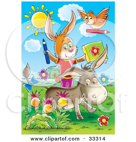 Bird, Rabbit And Donkey Coloring Outside In A Flower Garden Posters, Art Prints