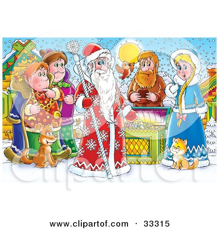Clipart Illustration of a Group Of People, Bird, Cat And Dog Around A Treasure Chest And A King Of Winter, Or Santa Clause by Alex Bannykh