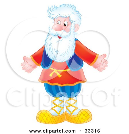 Clipart Illustration of a Happy Senior Caucasian Man With A White Beard, Standing With His Arms Out by Alex Bannykh