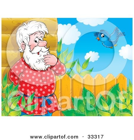 Clipart Illustration of a Senior Man Leaning Against His Log House And Thinking, A Bluebird Flying Nearby by Alex Bannykh