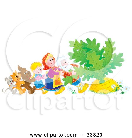 Clipart Illustration of a Mouse, Cat, Dog, Girl, Woman And Man Trying To Pull A Giant Carrot Or Turnip Out Of The Ground by Alex Bannykh