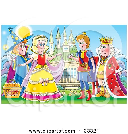 Clipart Illustration of a Fairy Godmother Standing Behind A Princess Like Cinderella, A Prince And King Standing In Front Of A Castle With A Glass Slipper by Alex Bannykh