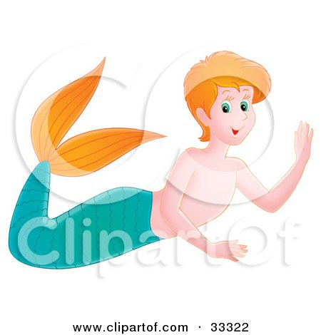 Clipart Illustration of a Friendly Red Haired Mermaid Boy With A Green Tail And Orange Fins by Alex Bannykh
