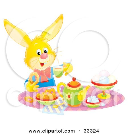 Yellow Hare Sipping Tea And Eating Snacks At A Tea Party Posters, Art Prints