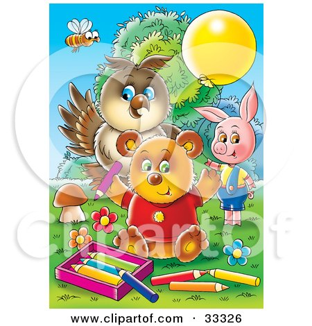 Clipart Illustration of a Bee, Owl, Pig And Bear Coloring Outside by Alex Bannykh