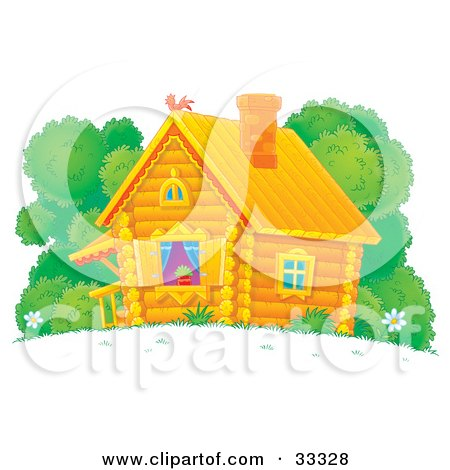 Clipart Illustration of a Cute Log Cabin With Blue Drapes And A Plant In The Window by Alex Bannykh