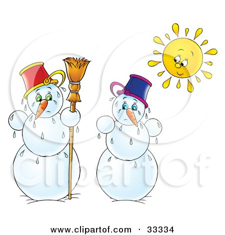 Clipart Illustration of Two Melting Snowmen Under The Bright Sun, On A White Background by Alex Bannykh