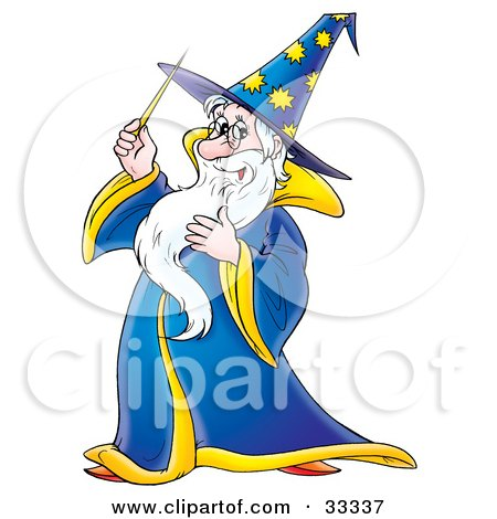 Clipart Illustration of a Friendly Male Wizard In A Blue And Yellow Hat And Cape, Holding A Magic Wand by Alex Bannykh