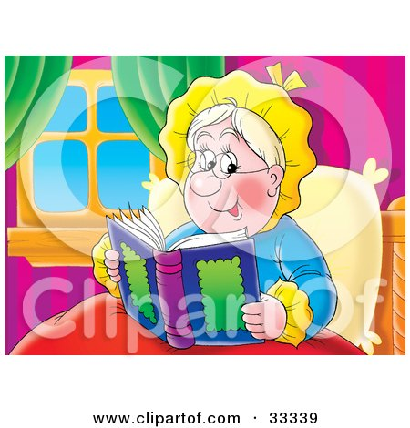 Clipart Illustration of a Happy Granny Relaxing In Bed And Reading A Book by Alex Bannykh