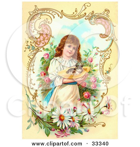Clipart Illustration of a Little Victorian Girl Gently Carrying A Calico Kitten In A Hat Through A Rose Garden, Framed By Scrolls And Daisies by OldPixels
