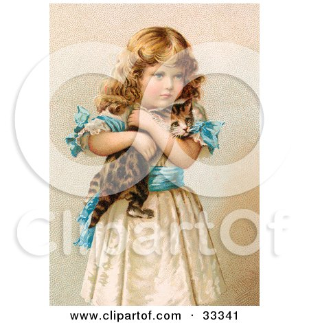 Clipart Illustration of a Little Victorian Girl In A Fluffy Dress, Hugging Her Scared Kitten by OldPixels