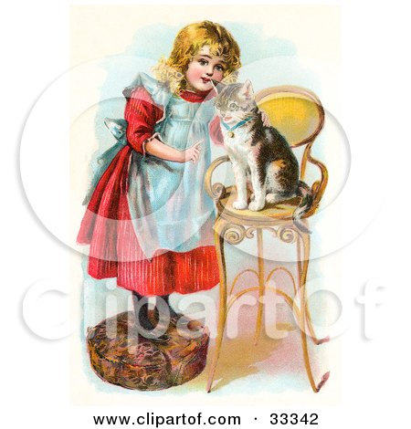 Clipart Illustration of a Little Blond Victorian Girl Trying To Train Her Cat To Listen To Her Commands, Teaching Kitty To Sit On A Stool by OldPixels